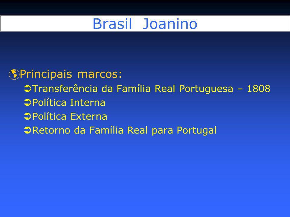 Brasil Joanino Principais marcos: Transferência da Família Real Portuguesa – 1808 Política Interna Política Externa Retorno da Família Real para Portu