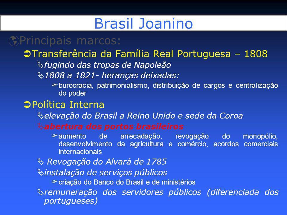 Brasil Joanino Principais marcos: Transferência da Família Real Portuguesa – 1808 fugindo das tropas de Napoleão 1808 a 1821- heranças deixadas: buroc