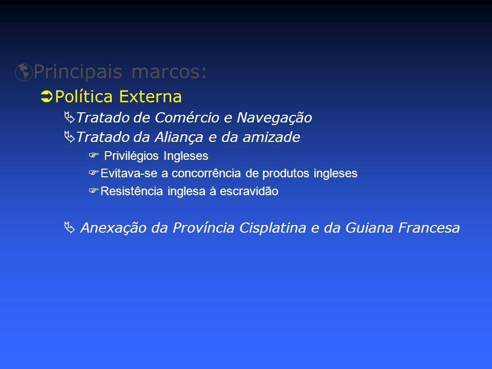 Principais marcos: Política Externa Tratado de Comércio e Navegação Tratado da Aliança e da amizade Privilégios Ingleses Evitava-se a concorrência de