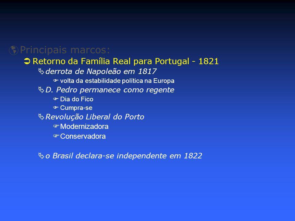 Principais marcos: Retorno da Família Real para Portugal - 1821 derrota de Napoleão em 1817 volta da estabilidade política na Europa D. Pedro permanec