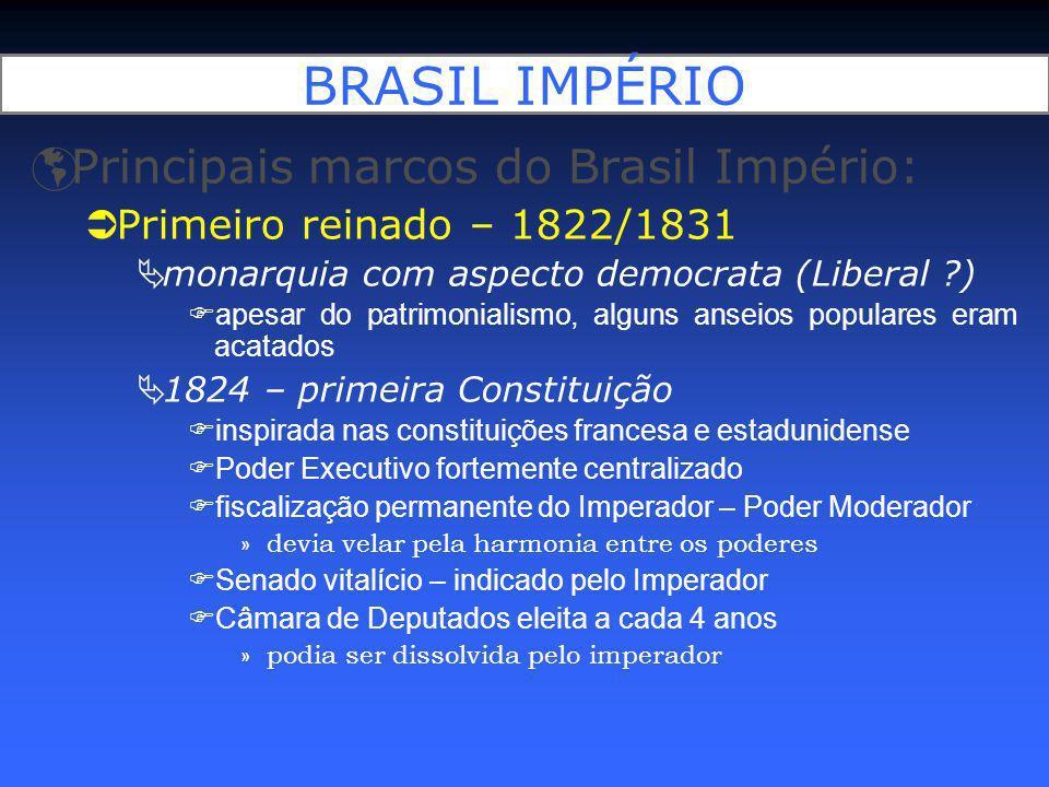 BRASIL IMPÉRIO Principais marcos do Brasil Império: Primeiro reinado – 1822/1831 período marcado por: guerras internas e externas Guerras contra a independência Confederação do Equador Guerra Cisplatina Autoritarismo + Crise monárquica em Portugal levaram à abdicação em favor de Pedro II