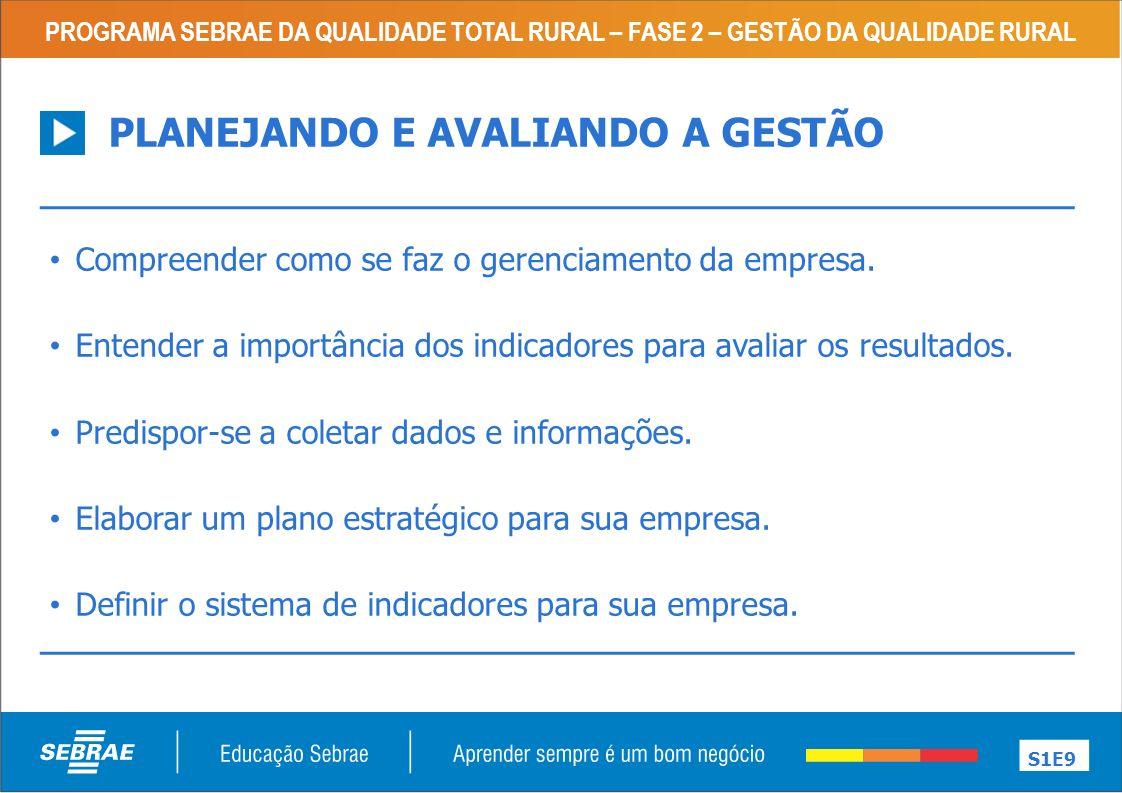 PROGRAMA SEBRAE DA QUALIDADE TOTAL RURAL – FASE 2 – GESTÃO DA QUALIDADE RURAL S12E9