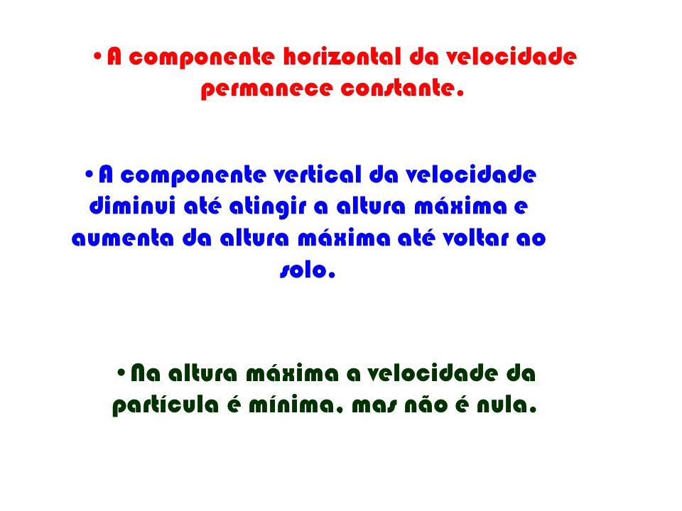 A componente horizontal da velocidade permanece constante. A componente vertical da velocidade diminui até atingir a altura máxima e aumenta da altura