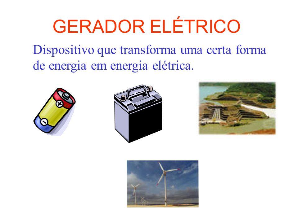 GERADOR ELÉTRICO Dispositivo que transforma uma certa forma de energia em energia elétrica.