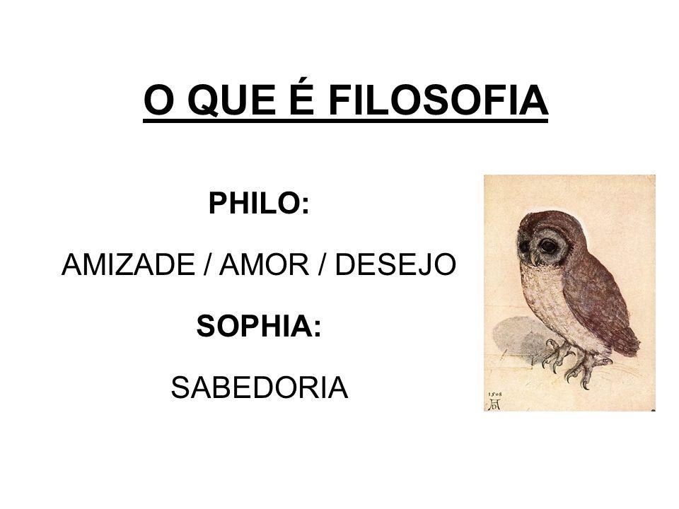 O QUE É FILOSOFIA PHILO: AMIZADE / AMOR / DESEJO SOPHIA: SABEDORIA