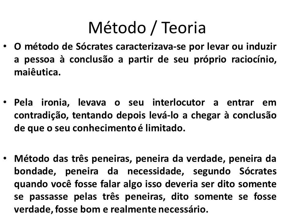 Método / Teoria O método de Sócrates caracterizava-se por levar ou induzir a pessoa à conclusão a partir de seu próprio raciocínio, maiêutica. Pela ir
