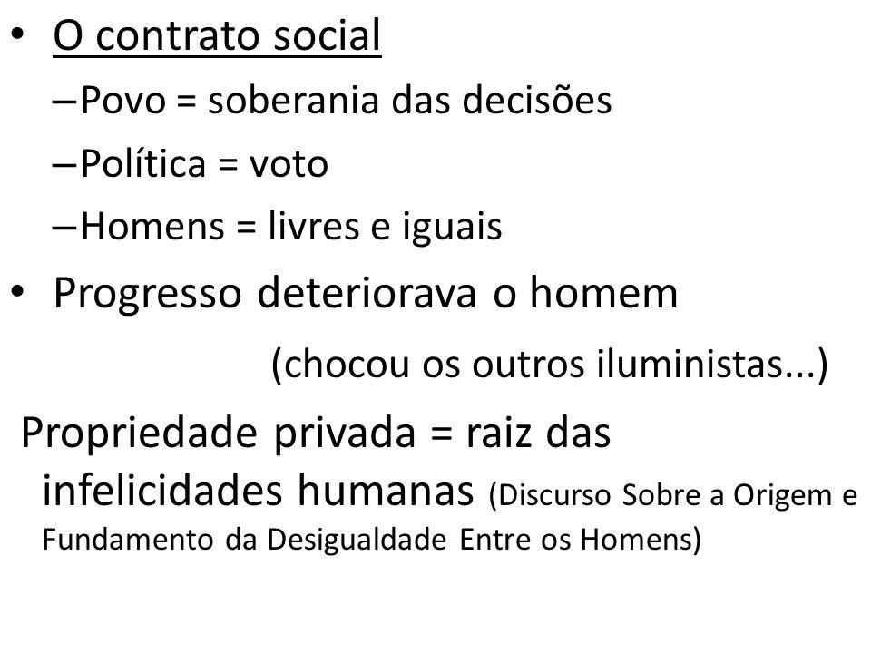 O contrato social – Povo = soberania das decisões – Política = voto – Homens = livres e iguais Progresso deteriorava o homem (chocou os outros ilumini