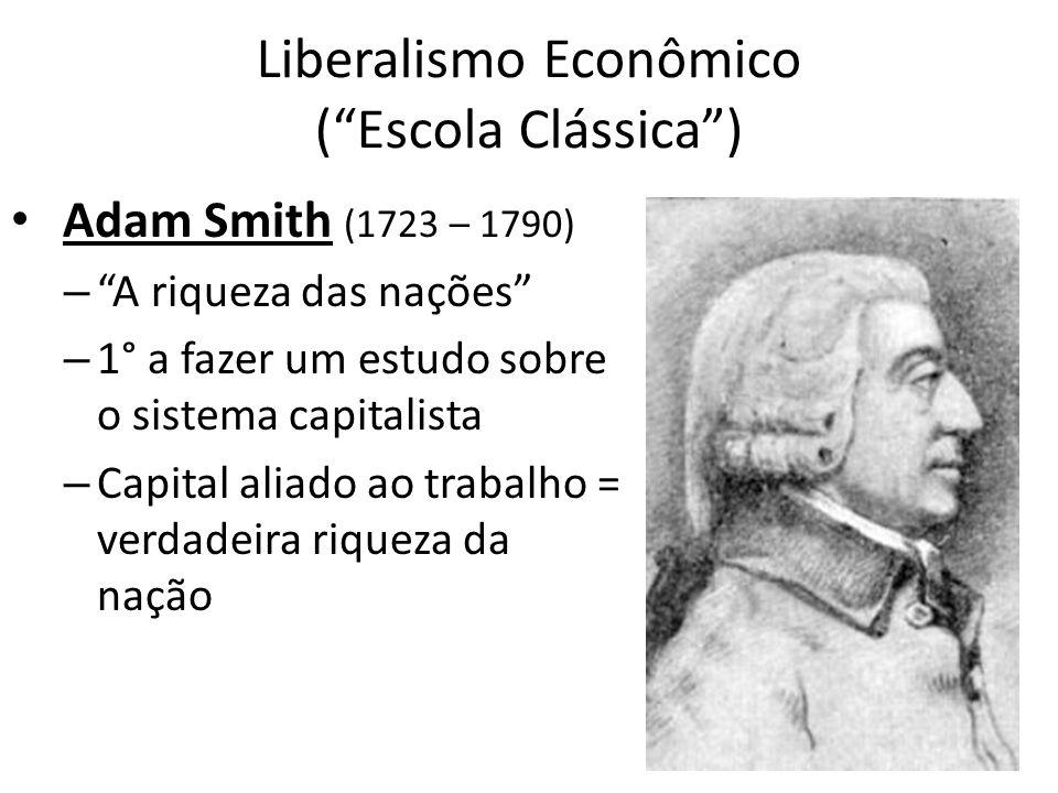 Liberalismo Econômico (Escola Clássica) Adam Smith (1723 – 1790) – A riqueza das nações – 1° a fazer um estudo sobre o sistema capitalista – Capital a