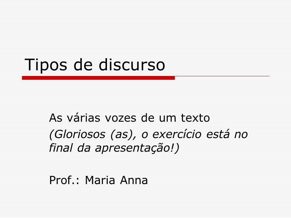 Tipos de discurso As várias vozes de um texto (Gloriosos (as), o exercício está no final da apresentação!) Prof.: Maria Anna