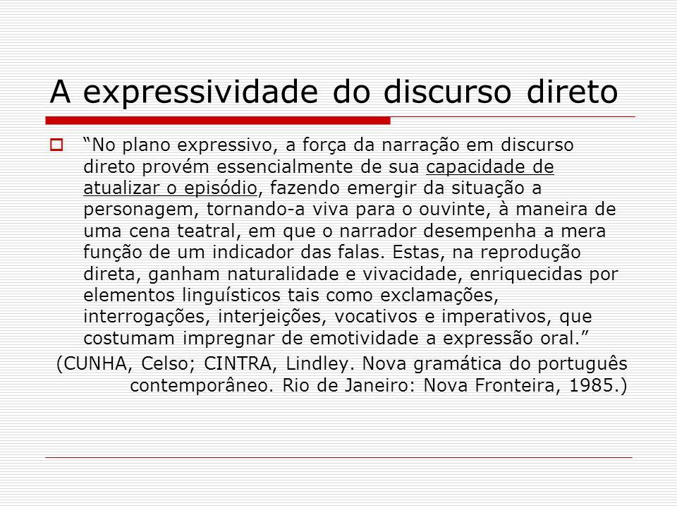 A expressividade do discurso direto No plano expressivo, a força da narração em discurso direto provém essencialmente de sua capacidade de atualizar o