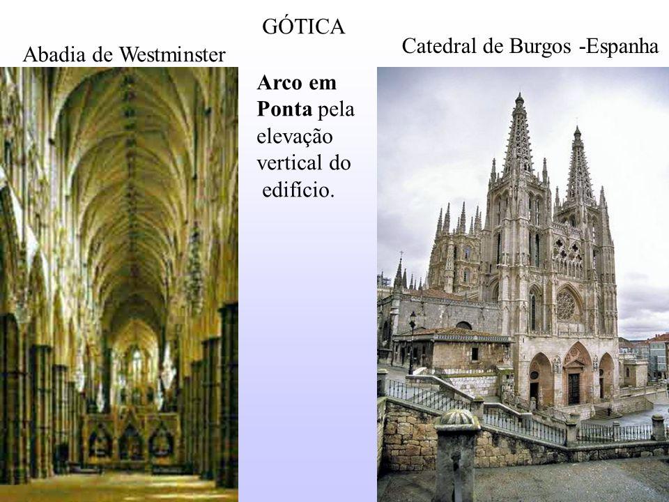 GÓTICA Arco em Ponta pela elevação vertical do edifício. Catedral de Burgos -Espanha Abadia de Westminster