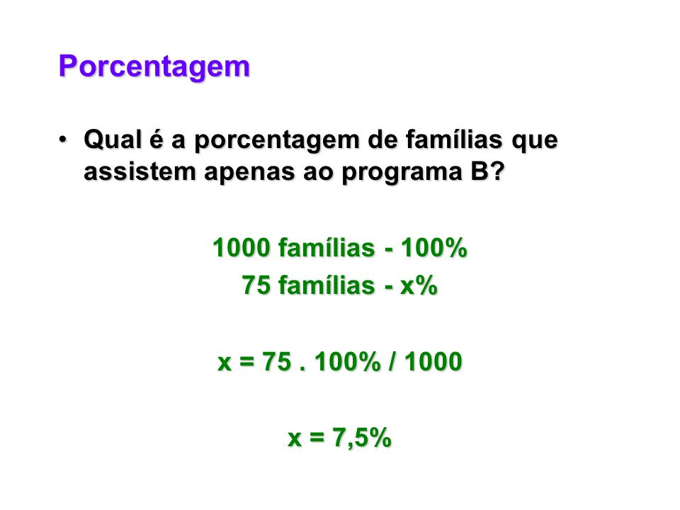 Porcentagem Qual é a porcentagem de famílias que assistem apenas ao programa B?Qual é a porcentagem de famílias que assistem apenas ao programa B.