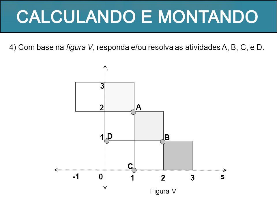 4) Com base na figura V, responda e/ou resolva as atividades A, B, C, e D. Figura V 1 r A B s 0 32 C D 1 2 3