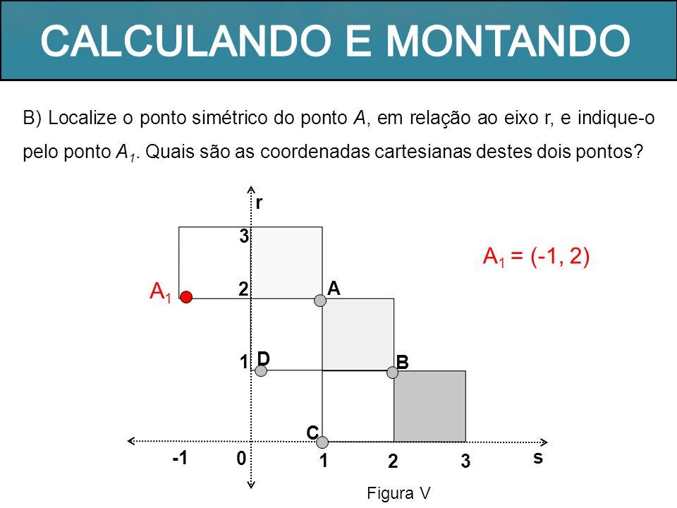 Figura V 1 r A B s 0 32 C D 1 2 3 A1A1 B) Localize o ponto simétrico do ponto A, em relação ao eixo r, e indique-o pelo ponto A 1. Quais são as coorde