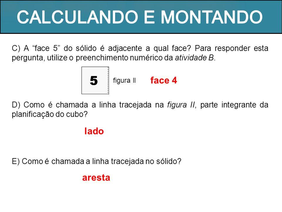 C) A face 5 do sólido é adjacente a qual face? Para responder esta pergunta, utilize o preenchimento numérico da atividade B. D) Como é chamada a linh