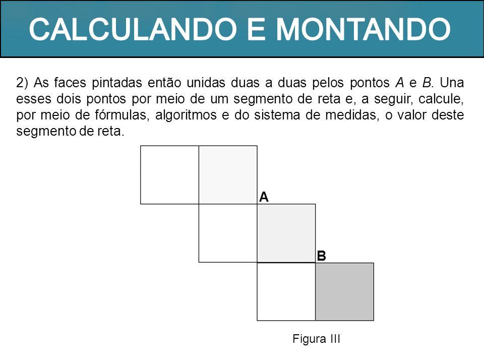 2) As faces pintadas então unidas duas a duas pelos pontos A e B. Una esses dois pontos por meio de um segmento de reta e, a seguir, calcule, por meio