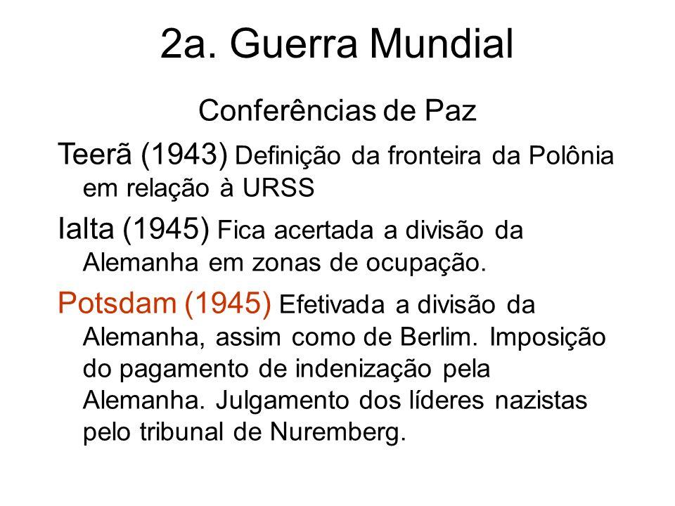 Conferências de Paz Teerã (1943) Definição da fronteira da Polônia em relação à URSS Ialta (1945) Fica acertada a divisão da Alemanha em zonas de ocup