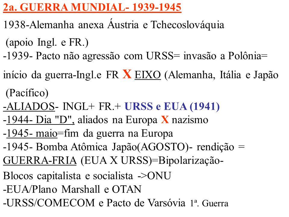 2a. GUERRA MUNDIAL- 1939-1945 1938-Alemanha anexa Áustria e Tchecoslováquia (apoio Ingl. e FR.) -1939- Pacto não agressão com URSS= invasão a Polônia=