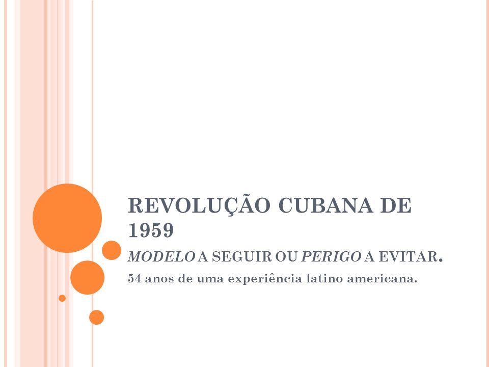 REVOLUÇÃO CUBANA DE 1959 MODELO A SEGUIR OU PERIGO A EVITAR. 54 anos de uma experiência latino americana.
