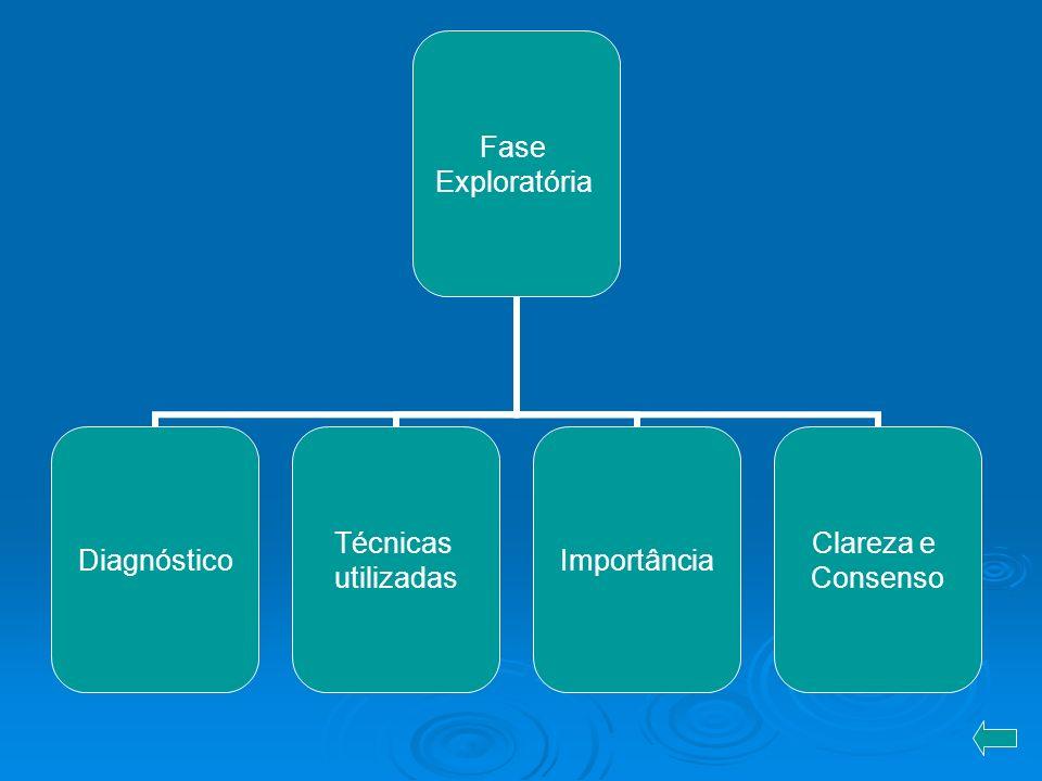 Fase Exploratória Diagnóstico Técnicas utilizadas Importância Clareza e Consenso