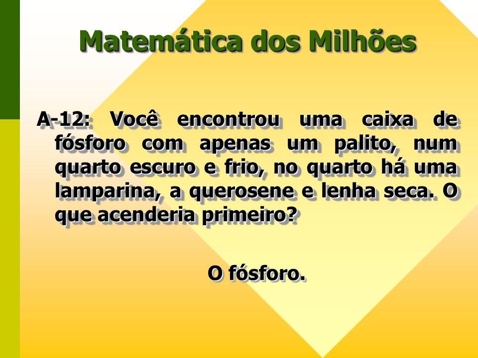 Matemática dos Milhões A-12: Você encontrou uma caixa de fósforo com apenas um palito, num quarto escuro e frio, no quarto há uma lamparina, a querose