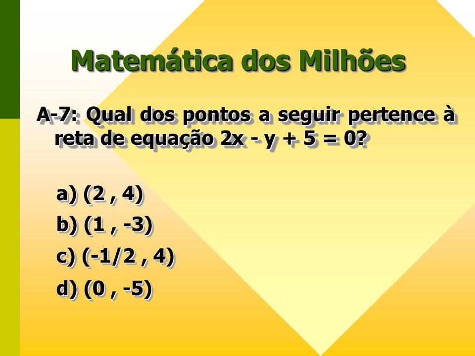 Matemática dos Milhões A-7: Qual dos pontos a seguir pertence à reta de equação 2x - y + 5 = 0? a) (2, 4) a) (2, 4) a) (2, 4) a) (2, 4) b) (1, -3) b)