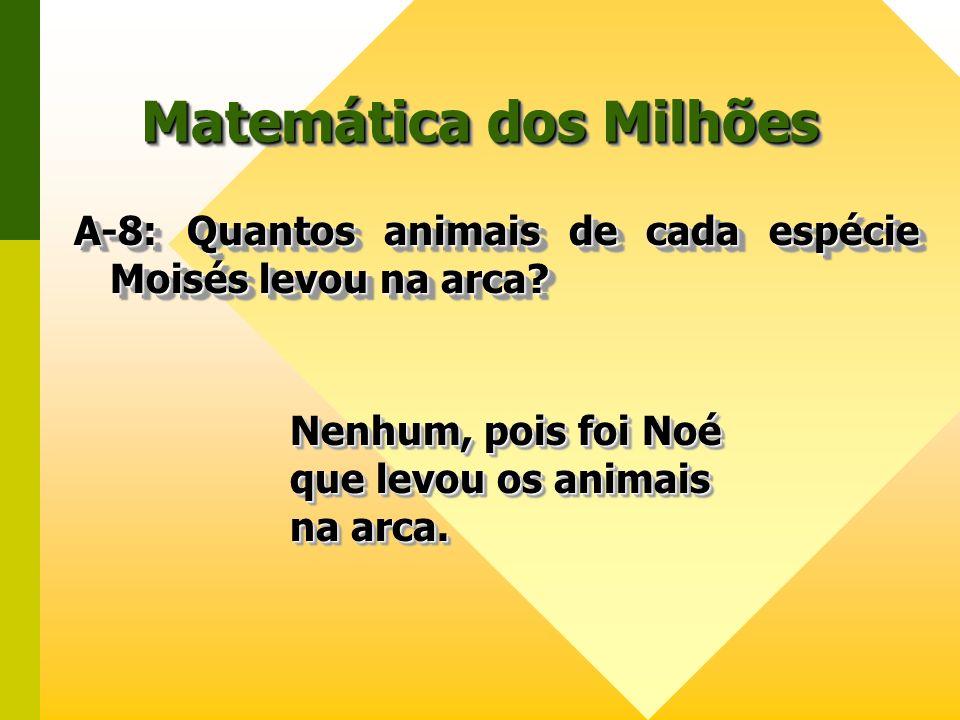 Matemática dos Milhões A-8: Quantos animais de cada espécie Moisés levou na arca? A-8: Quantos animais de cada espécie Moisés levou na arca? Nenhum, p