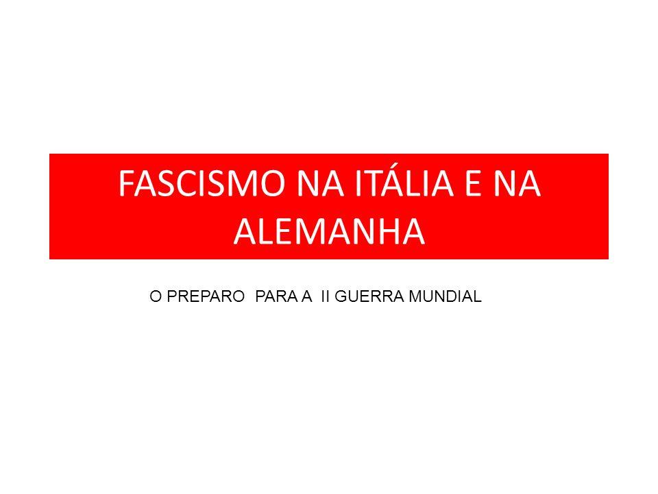 ITALIA – Fascismo no poder ANTECEDENTES: - Década de 1920 : crise econômica afetando camponeses, operários e classe média; -Entente não entregou os territórios prometidos - LIGAS VERMELHAS (inspiração comunista ) X CAMISAS NEGRAS (adeptos do fascismo) - BENITO MUSSOLINI – apresentou uma proposta com soluções rápidas para a crise - 1922 – MARCHA SOBRE ROMA – Camisas Negras pressionaram o rei Vitor Emanuel III a nomear Mussolini como seu primeiro-ministro