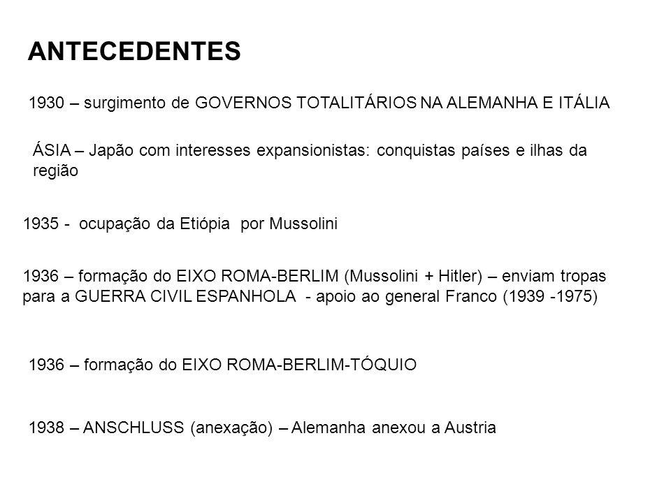 ANTECEDENTES 1930 – surgimento de GOVERNOS TOTALITÁRIOS NA ALEMANHA E ITÁLIA ÁSIA – Japão com interesses expansionistas: conquistas países e ilhas da