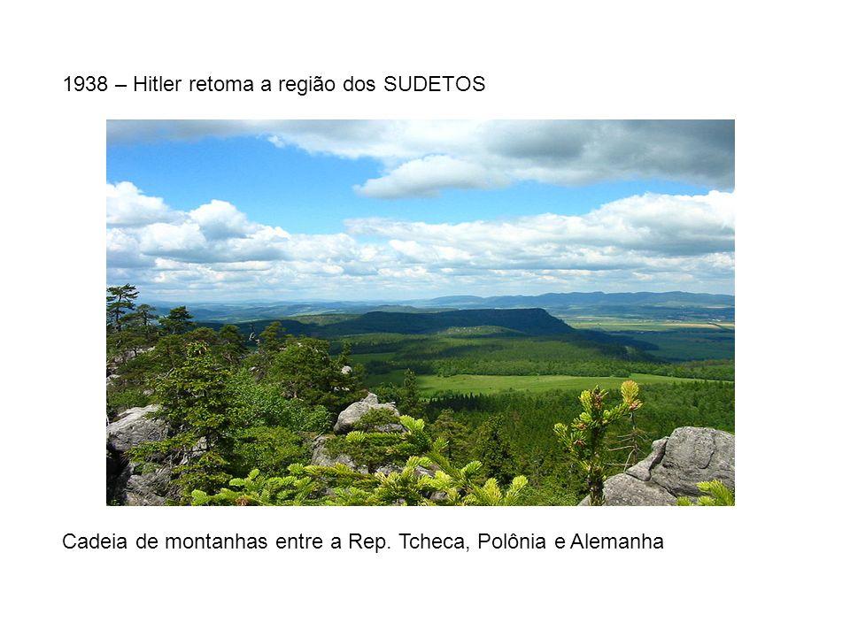 1938 – Hitler retoma a região dos SUDETOS Cadeia de montanhas entre a Rep. Tcheca, Polônia e Alemanha