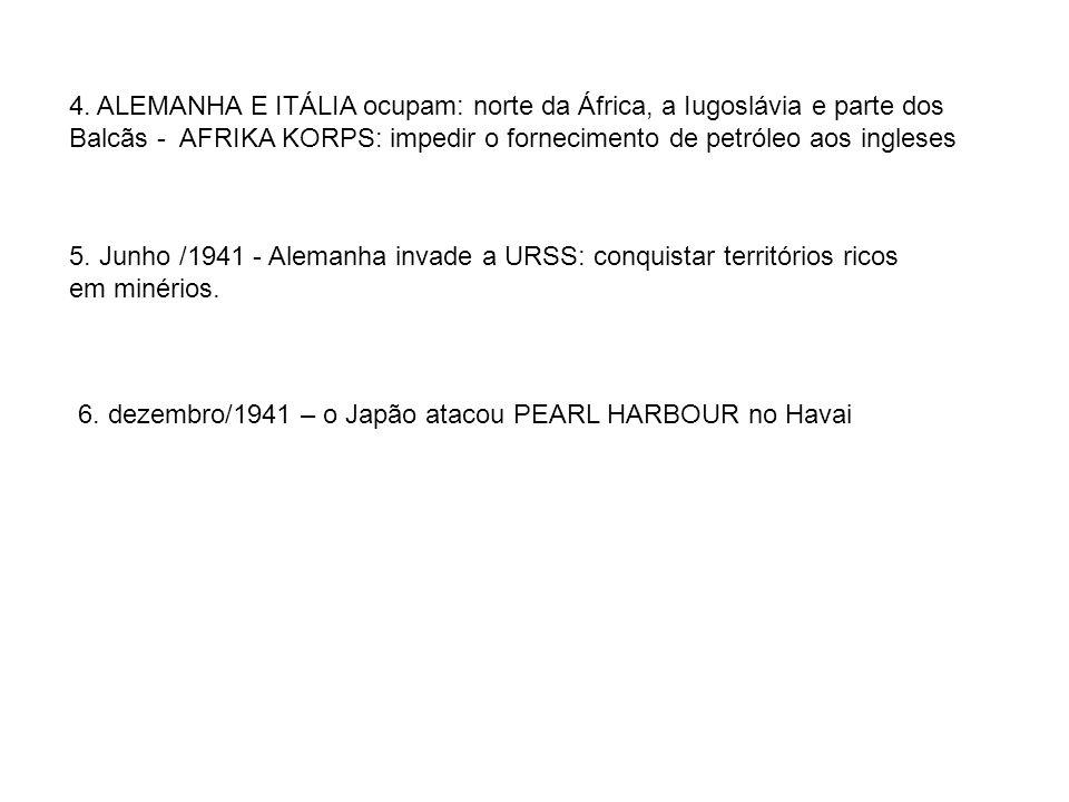 4. ALEMANHA E ITÁLIA ocupam: norte da África, a Iugoslávia e parte dos Balcãs - AFRIKA KORPS: impedir o fornecimento de petróleo aos ingleses 5. Junho