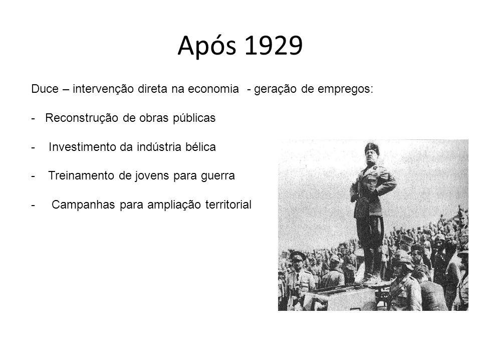 Após 1929 Duce – intervenção direta na economia - geração de empregos: - Reconstrução de obras públicas - Investimento da indústria bélica - Treinamen