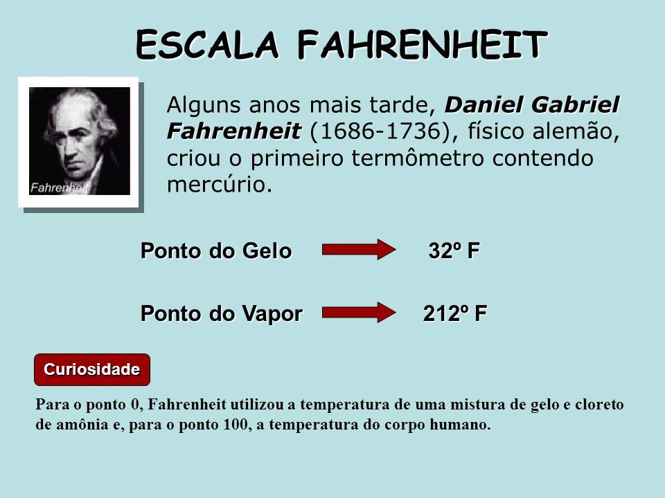 Daniel Gabriel Fahrenheit Alguns anos mais tarde, Daniel Gabriel Fahrenheit (1686-1736), físico alemão, criou o primeiro termômetro contendo mercúrio.