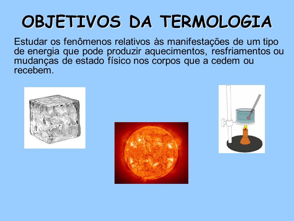 OBJETIVOS DA TERMOLOGIA Estudar os fenômenos relativos às manifestações de um tipo de energia que pode produzir aquecimentos, resfriamentos ou mudanças de estado físico nos corpos que a cedem ou recebem.