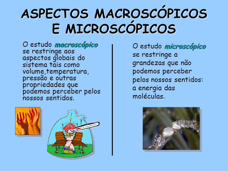 ASPECTOS MACROSCÓPICOS E MICROSCÓPICOS macroscópico O estudo macroscópico se restringe aos aspectos globais do sistema tais como volume,temperatura, pressão e outras propriedades que podemos perceber pelos nossos sentidos.