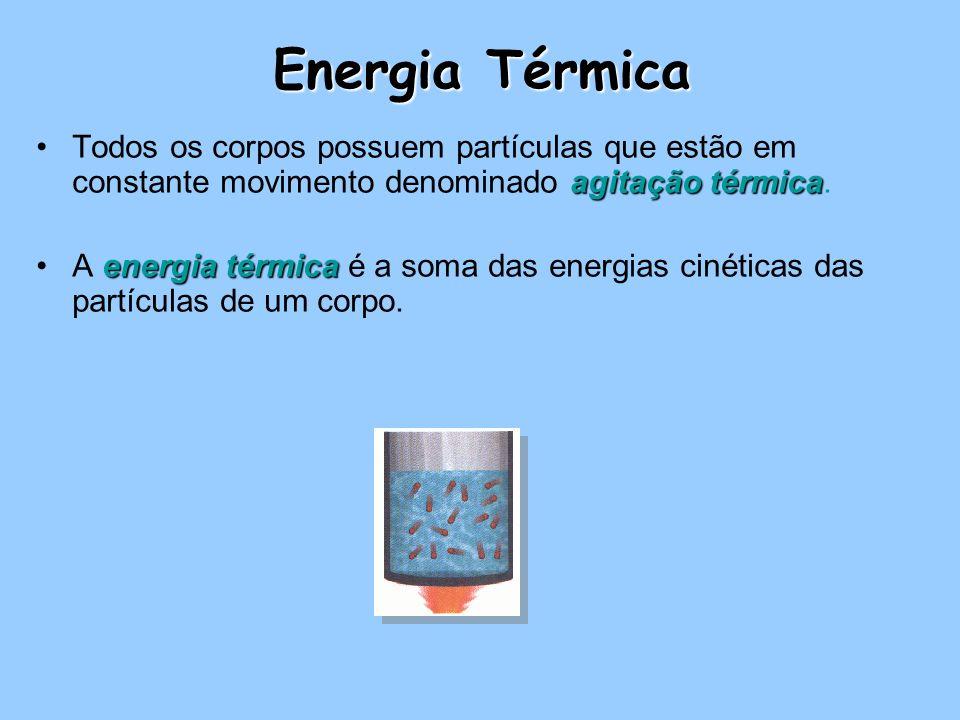 Energia Térmica agitação térmicaTodos os corpos possuem partículas que estão em constante movimento denominado agitação térmica. energia térmicaA ener