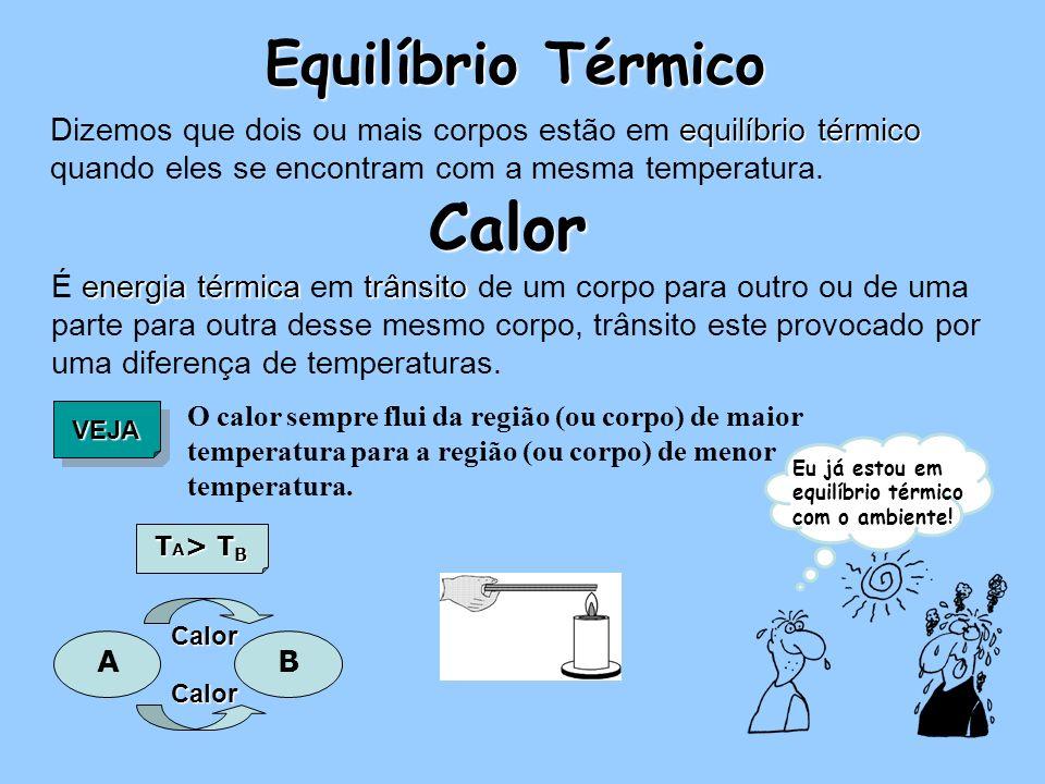 equilíbrio térmico Dizemos que dois ou mais corpos estão em equilíbrio térmico quando eles se encontram com a mesma temperatura.