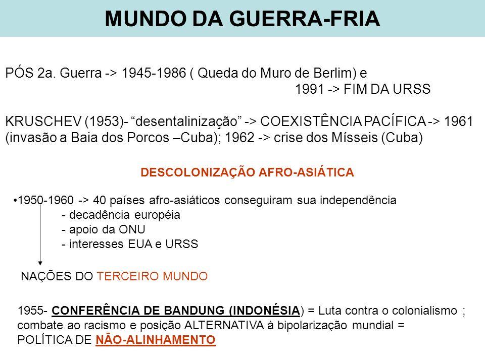 MUNDO DA GUERRA-FRIA PÓS 2a. Guerra -> 1945-1986 ( Queda do Muro de Berlim) e 1991 -> FIM DA URSS KRUSCHEV (1953)- desentalinização -> COEXISTÊNCIA PA