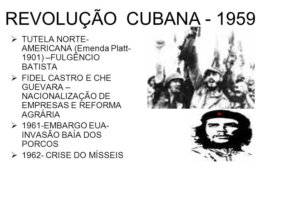 REVOLUÇÃO CUBANA - 1959 TUTELA NORTE- AMERICANA (Emenda Platt- 1901) –FULGÊNCIO BATISTA FIDEL CASTRO E CHE GUEVARA – NACIONALIZAÇÃO DE EMPRESAS E REFO