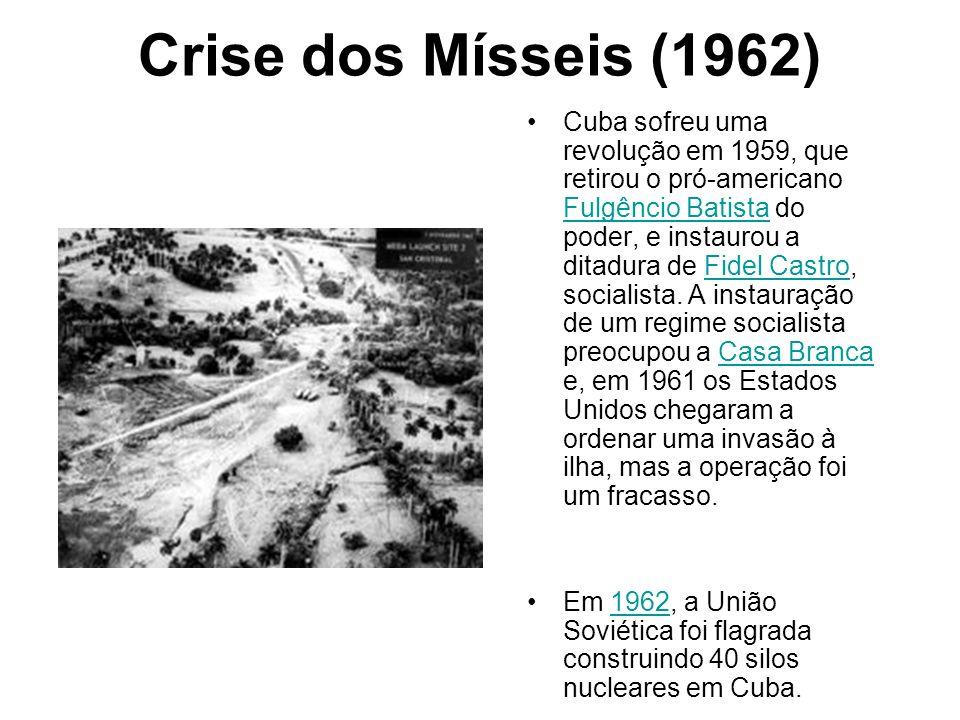 Crise dos Mísseis (1962) Cuba sofreu uma revolução em 1959, que retirou o pró-americano Fulgêncio Batista do poder, e instaurou a ditadura de Fidel Ca