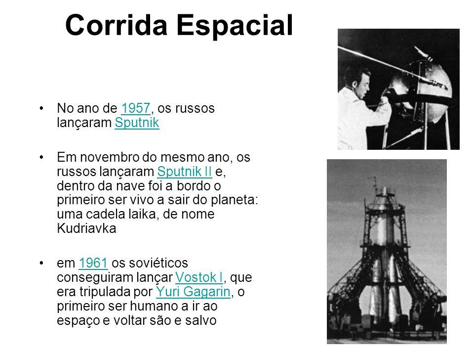 Corrida Espacial No ano de 1957, os russos lançaram Sputnik1957Sputnik Em novembro do mesmo ano, os russos lançaram Sputnik II e, dentro da nave foi a
