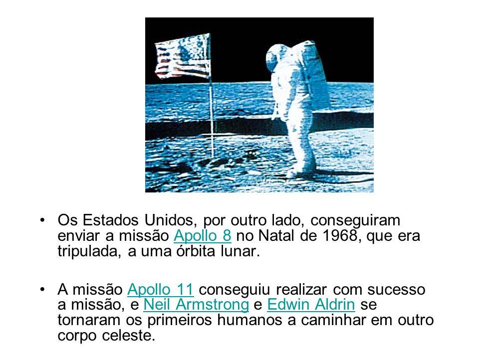Os Estados Unidos, por outro lado, conseguiram enviar a missão Apollo 8 no Natal de 1968, que era tripulada, a uma órbita lunar.Apollo 8 A missão Apol