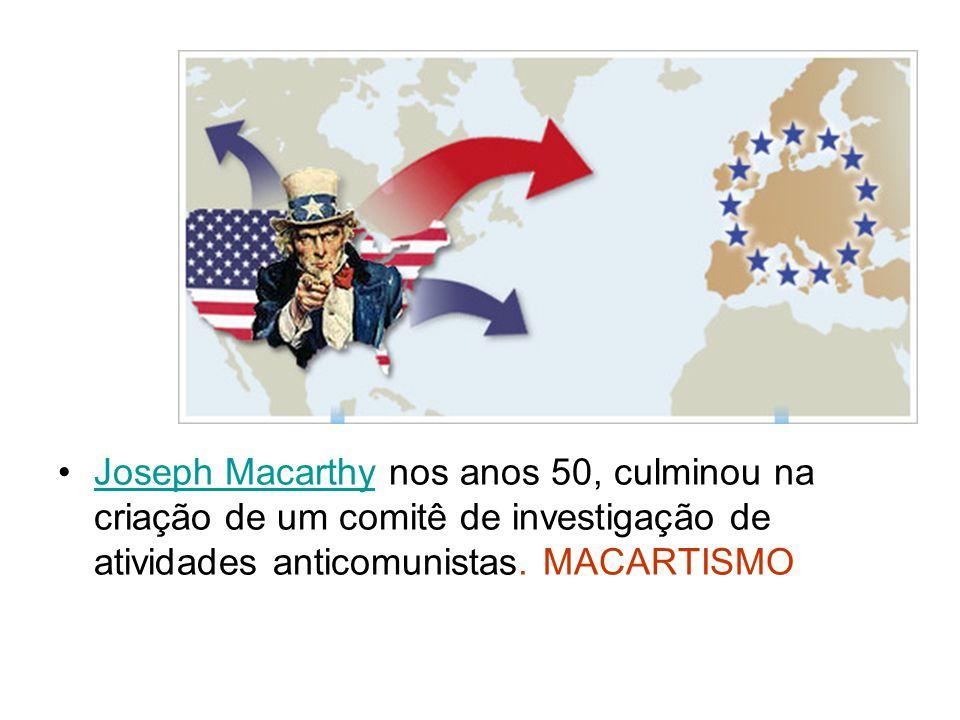 Joseph Macarthy nos anos 50, culminou na criação de um comitê de investigação de atividades anticomunistas. MACARTISMOJoseph Macarthy