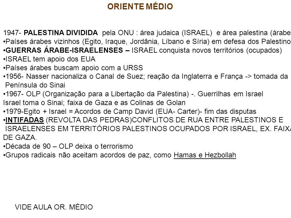 ORIENTE MÉDIO VIDE AULA OR. MÉDIO 1947- PALESTINA DIVIDIDA pela ONU : área judaica (ISRAEL) e área palestina (árabes) Países árabes vizinhos (Egito, I