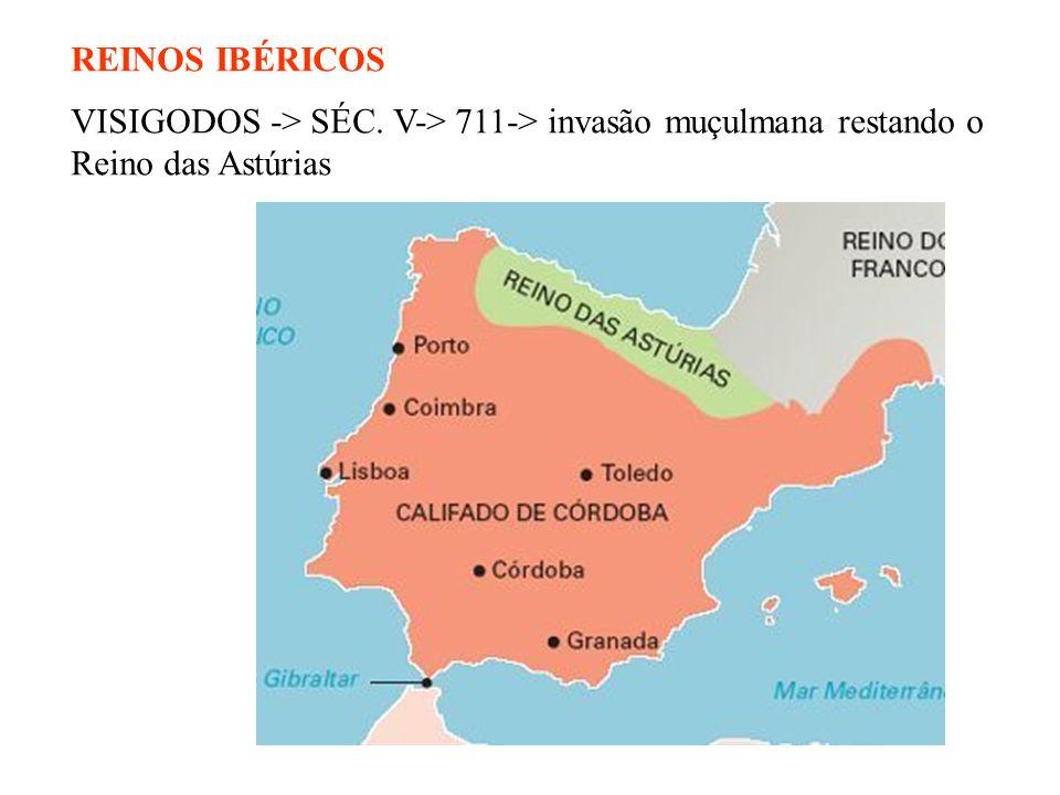 REINOS IBÉRICOS VISIGODOS -> SÉC. V-> 711-> invasão muçulmana restando o Reino das Astúrias