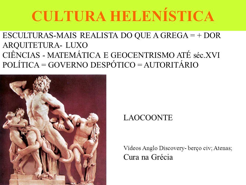 CULTURA HELENÍSTICA ESCULTURAS-MAIS REALISTA DO QUE A GREGA = + DOR ARQUITETURA- LUXO CIÊNCIAS - MATEMÁTICA E GEOCENTRISMO ATÉ séc.XVI POLÍTICA = GOVE