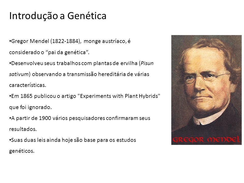 Introdução a Genética Gregor Mendel (1822-1884), monge austríaco, é considerado o pai da genética. Desenvolveu seus trabalhos com plantas de ervilha (