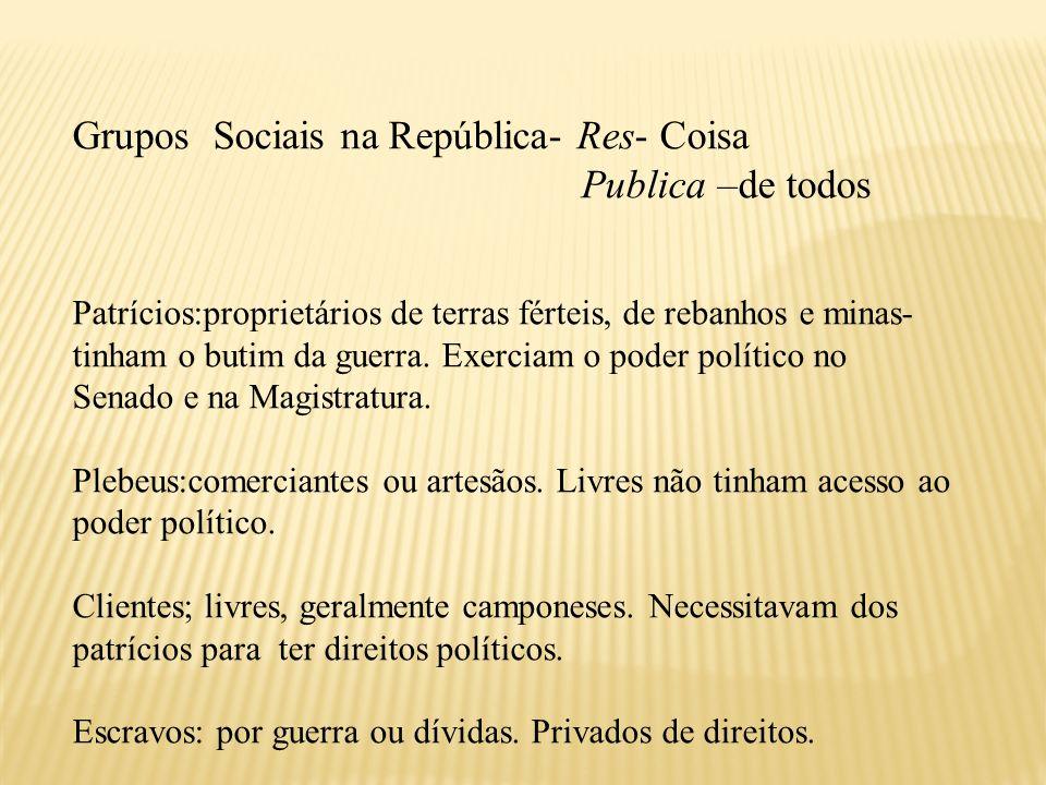 Grupos Sociais na República- Res- Coisa Publica –de todos Patrícios:proprietários de terras férteis, de rebanhos e minas- tinham o butim da guerra. Ex