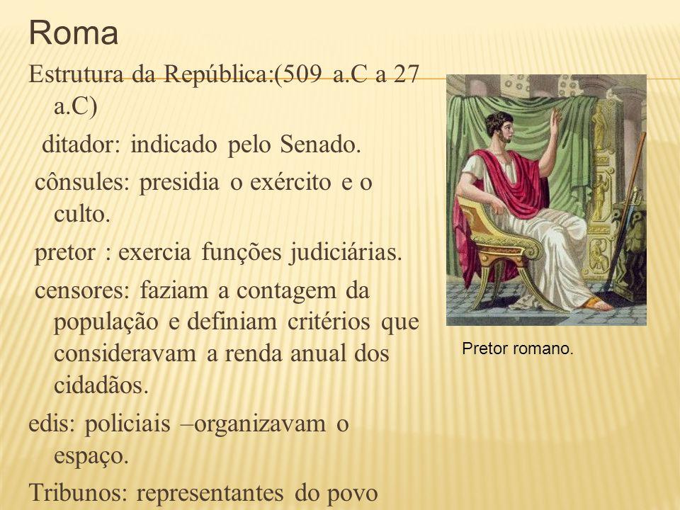 Roma Estrutura da República:(509 a.C a 27 a.C) ditador: indicado pelo Senado. cônsules: presidia o exército e o culto. pretor : exercia funções judici