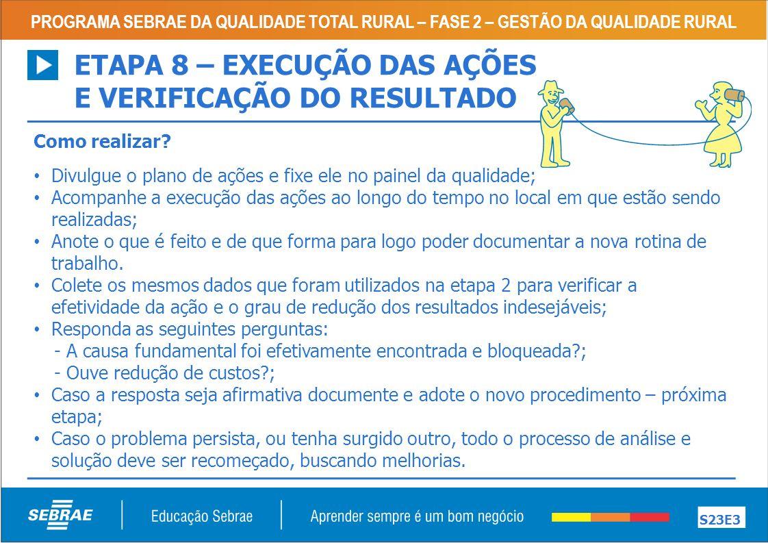 PROGRAMA SEBRAE DA QUALIDADE TOTAL RURAL – FASE 2 – GESTÃO DA QUALIDADE RURAL S23E3 Como realizar.